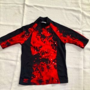 Speedo medium rashguard red black tie dye